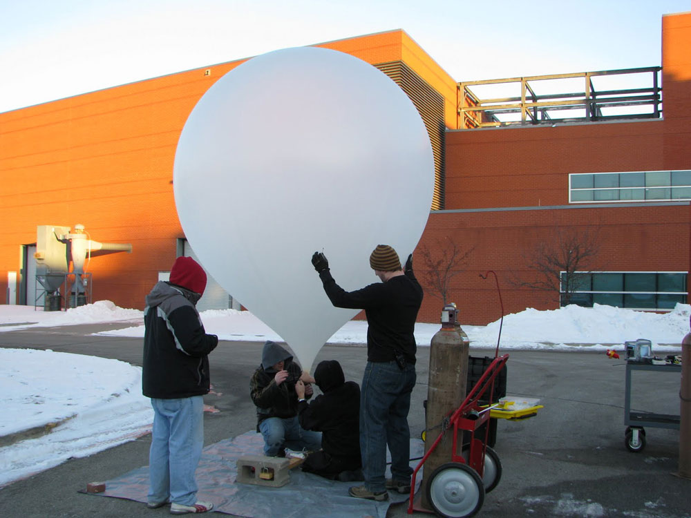Students in HABET prepare to launch a high altitude balloon