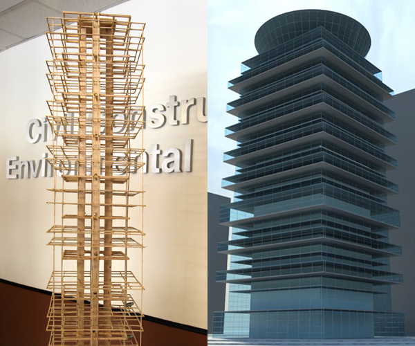 At right is the balsa wood structure, built five feet tall with 14-inch square base and 28 stories constructed to scale. At right is the architectural rendition of how the tower would look if constructed professionally.