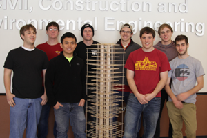 "(From left) civil engineering students Alex Traeger, Kenneth Beadle, Duong ""Ocean"" Van, Lance Keltner, Bryan Whitson, Cody Weaver, Gregory Markway and Adam Tyler."