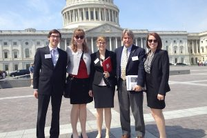 Material Advantage members Sam Reeve, Hannah Doyle, Kate Lindley, MSE faculty member Iver Anderson, and Lisa Rueschhoff visited Washington D.C. to promote materials science research.