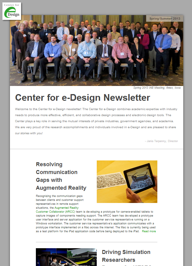 latest newsletter  center   design   college  engineering news iowa