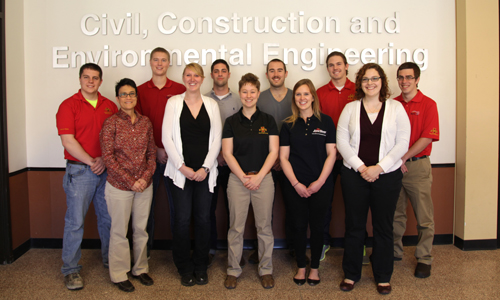 The 2013 Iowa State NECA Team (from left): Justin Wenger, Lecturer Beth Hartmann, Eric Ryan, Caitlin Weber, Alex Buscher, Katie Maschmann, Alex Toth, Kate Glowacki, Bryan Whitson, Maggie Holt, and Joe Hahn.