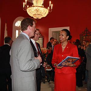 Tim Ellis, associate professor of civil, construction and environmental engineering, is pictured far left. Gina Abercrombie-Winstanley, U.S. Ambassador to Malta, recognized Ellis Feb. 14 during his Fulbright teaching exchange in Malta.