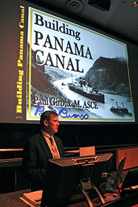 Giroux gives a lecture on the building of the Panama Canal