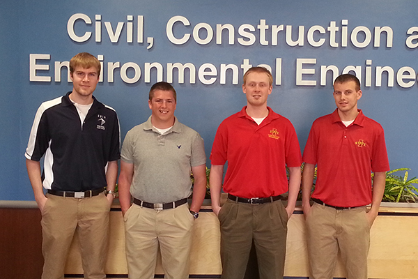 Construction engineering students of the Midwest's top design-build team (from left): Brandon Mai, Brandon Griffin, Eli Hemesath, Josh Olson, and Lauren Bennett (not pictured).