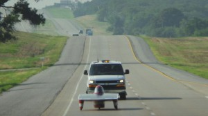 Iowa State's solar car Phaeton races at its best in the blazing heat. Photo provided by Team PrISUm.