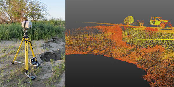 Iowa State researchers used a 3-D laser scanner (left) to scan a flood-breached embankment to rapidly and accurately estimate volumetrics of the 2011 Missouri River breach. Field performance testing was used to determine flood damage and recommend assessment, repair and mitigation methods (Pottawattamie County, Iowa).