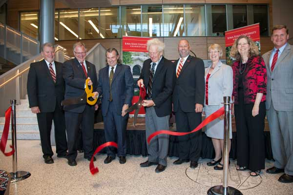 Ribbon cutting from the ISU dedication of Elings Hall and Sukup Hall