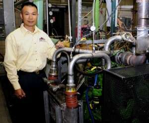 Iowa State's Song-Charng Kong uses this campus engine lab and computer modeling to study and improve internal-combustion engines. Photo by Bob Elbert.