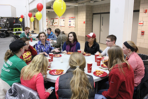 2010 CE alumna Allison Smyth networks with students at the social Jan. 29.