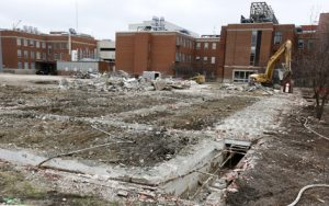 March 23: Former Davidson Hall site, looking east toward Gilman (right) and Spedding (left) halls.