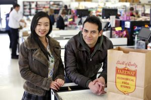 Graduate students Jingyu Liu, industrial engineering/human computer interaction, and Julian Osorio, graphic design, were part of the design studio class that helped Fareway create a brand identity for Midwest Quality Wholesale. (Photo by Christopher Gannon.)