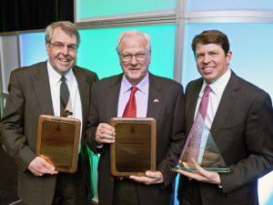GEAPS Award Tim, Sullivan George Kornstad, Industry Leader award winner and Steve Schmitt, Corbett Award winner