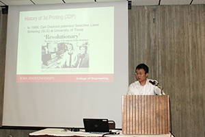 An Chen, assistant professor of civil, construction and environmental engineering, presents on the applicability and limitations of 3D printing for civil structures.