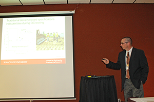 David White, Richard L. Handy Professor of civil, construction and environmental engineering, presents on emerging technologies for continuous earthwork construction monitoring.