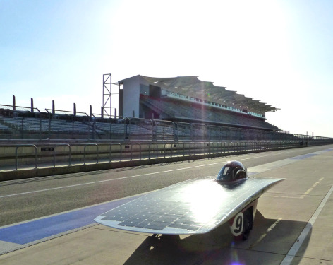 Phaëton, Team PrISUm's solar racing car, leaves the pits at the Circuit of the Americas in Austin, Texas, during this week's Formula Sun Grand Prix.  Photo by Formula Sun Grand Prix.