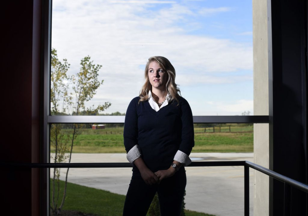 Jill Schoborg, senior in chemical engineering, poses for a portrait in the Hansen Agriculture Student Learning Center in Ames, Iowa. (Photo by Josh Newell)