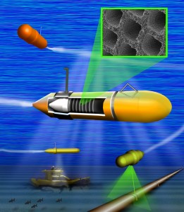 Rendering of a small underwater vehicle powered with carbon nanotube catalysts.