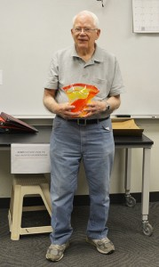 McGee was given a vase made by the ISU Gaffer's Guild in celebration of his birthday.