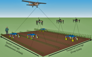 Airplanes, drones and rovers could collect huge amounts of data from farm fields. The presidential research initiative is supporting an interdisciplinary team that will work to make sense of all that data. (Illustration by Marcus Naik/Mechanical Engineering)