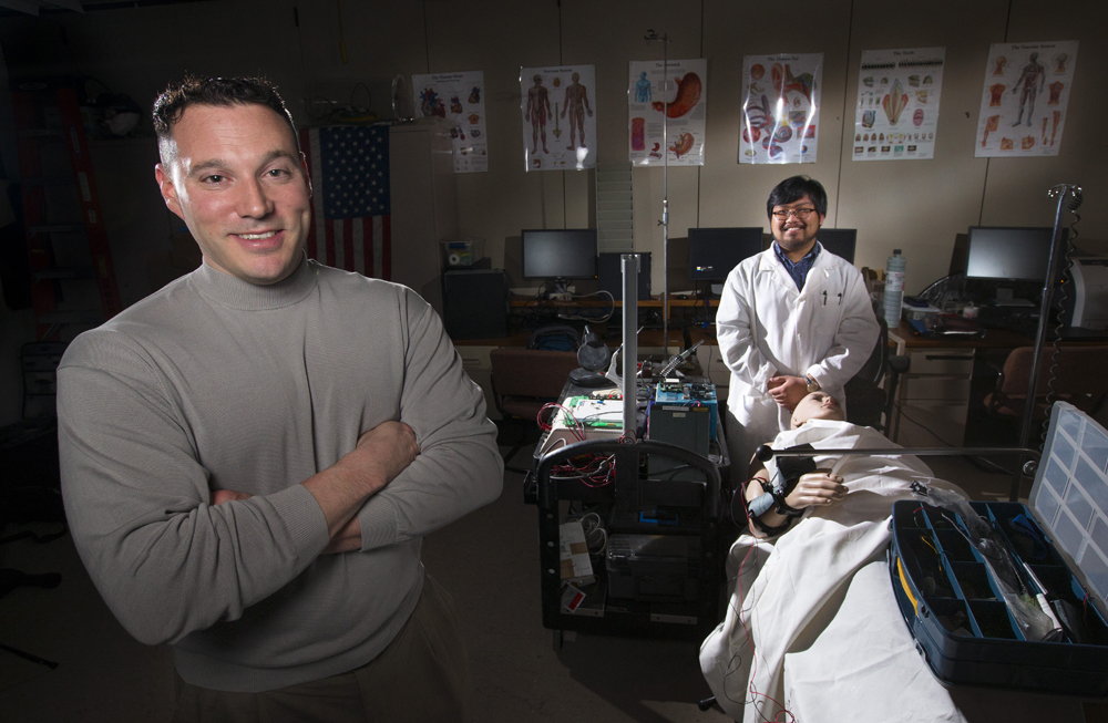 Iowa State University's Richard Stone and Thomas Schnieders, left to right, are co-founders of the ATHENA Lab. The lab is all about using engineering to augment and understand human performance. (Photo by Christopher Gannon)
