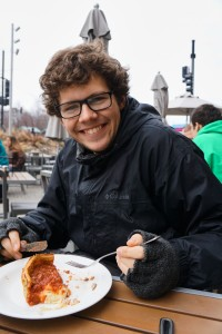 Betz enjoyed some deep-dish pizza on a trip to Chicago during spring break