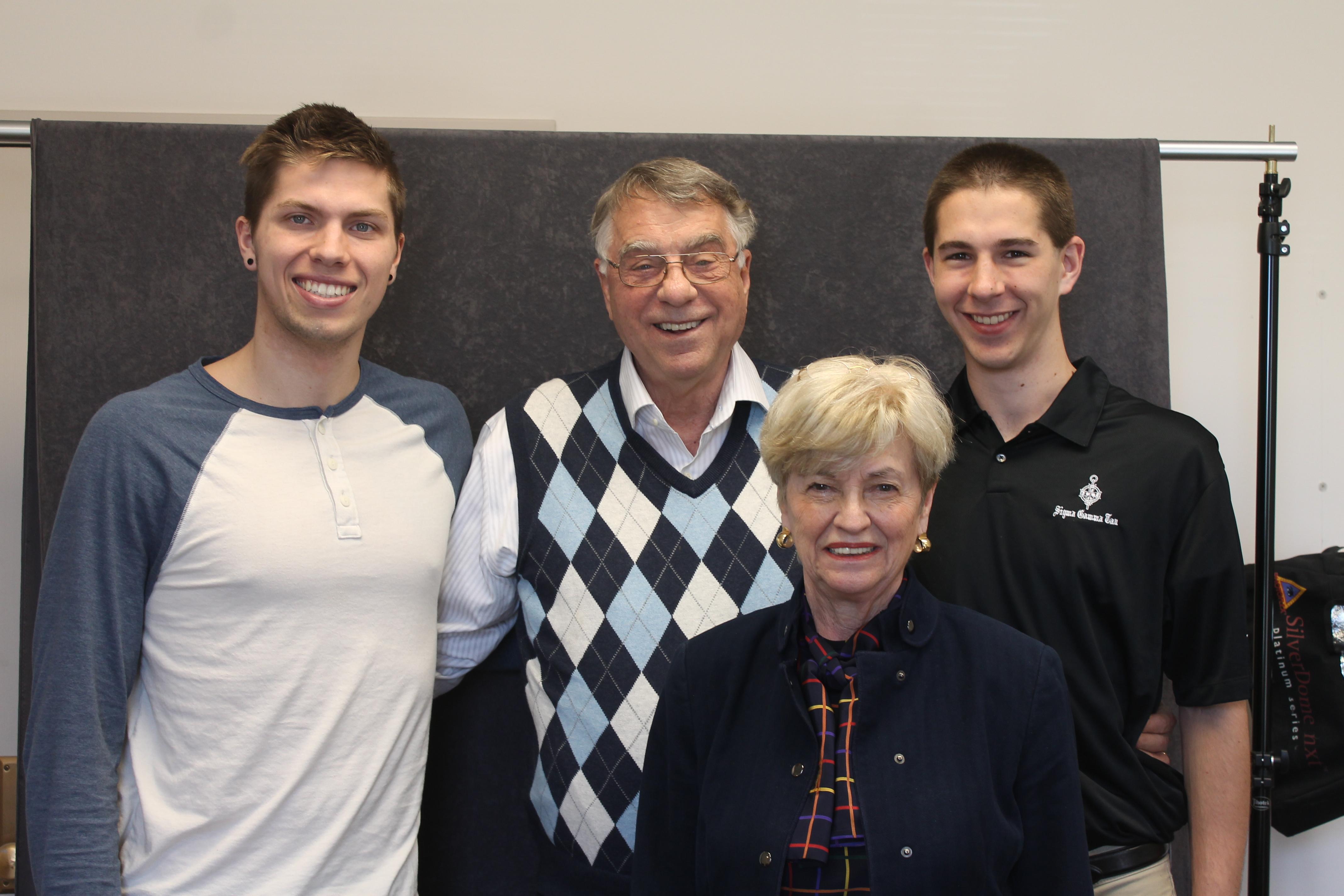 (Left to right) AerE junior Ben Waalen, ME '62 alum Dale Johnson, Jan Johnson and AerE junior Matt Gustafson.