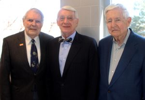 Judge Lettow (center) is joined by CBE Professors Emeritus Dr. George Burnet (left), who was department chair when Lettow graduated; and Dr. Thomas Wheelock, one of Lettow's professors.