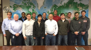 Students in an ISU Capstone project visited the St. Louis offices of Roeslein Alternative Energy LLC to collaborate with the company on technology to convert prairie grass to fuels and other useful products. Left to Right: Chris Roach (Roeslein), Hassan Loutfi (Roeslein), Ted Asrat, Nathan Steele, Andrew Hansen, Jajun Ryu, Tony Smith (Roeslein), Rudi Roeslein (Roeslein), Eric Bancks (Roeslein), Peter Batdorf, Daniel Carlson, Eric Mach, and Aric Hanson.