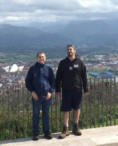 Oviedo participants Andrew Hughes and Steven Anderson enjoy the overlook at the Cristo de Nuance statue in Oviedo.