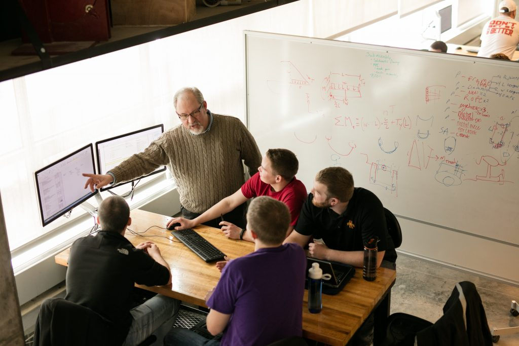 Mechanical engineering lecturer Jim Heise teaches a class