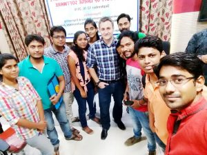 Ben Holland (center) spent this past summer teaching students at Malaviya National Institute of Technology in Jaipur, India.