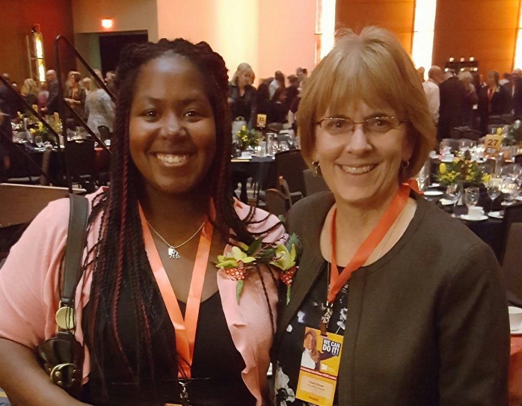Rover (right) with Alexis Slade, finalist and the student Rover nominated for the Collegian Innovation & Leadership award.