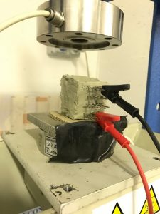Testing of a smart brick in University of Perugia laboratories (Photo courtesy Austin Downey)