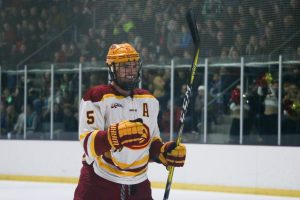 Uglem on the ice during a Cyclone Hockey match (Photo by Emily Blobaum)