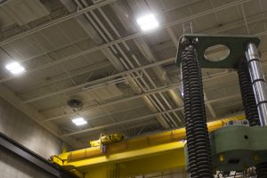 New LED lights in one of ISU CCEE's two high-bay laboratories (By Kate Tindall)