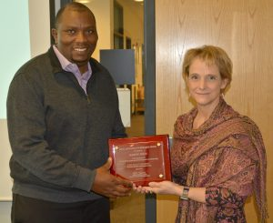Pictured: Dr. Martin Thuo and department chair, Dr. Kristen Constant