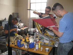 photo of the team working on the robot