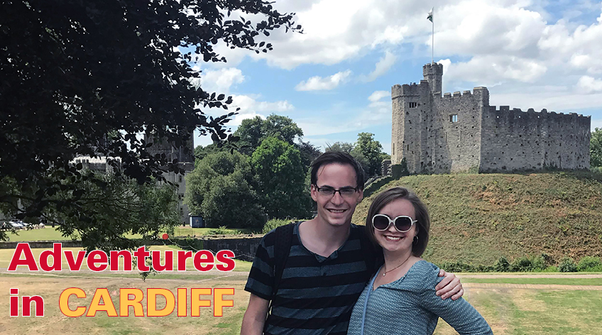 ISU students Jonathan Germick and Taylor Yeazel stand in front of Cardiff Castle, during their summer spent researching magnetics in Wales.