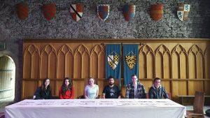 (L-R): Students Sierra Semel, Yana Aleksandrova, Taylor Yeazel, Henry Garcia, Johnathan Germick and Samuel Greene have spent the summer at Cardiff University in Wales, researching magnetics.
