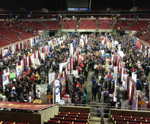 A view of the 2017 ISU Fall Engineering Career Fair in Hilton Coliseum. <i>Photos by Kate Tindall.</i>