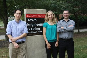 <i>(From left to right) </i> ISU researchers Benjamin Ahn (aerospace engineering), Kristen Cetin and Bora Cetin (both of civil, construction and environmental engineering) are working to develop better teaching methods to mirror the workings of engineering industry practices. <i> Photo by Kate Tindall. </i>