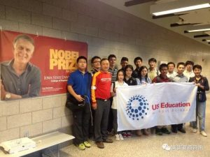 Jiang stands with US Education Without Borders students in Hoover Hall