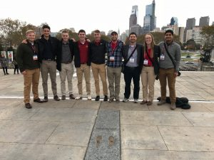 ISU DBIA's student competition team gathers for a photo at the top of The Rocky Steps in Philadelphia. <i> Photo courtesy Trent Cork. </i>