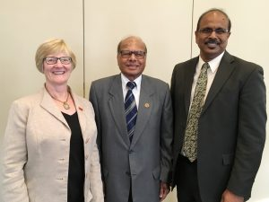 <i>(Pictured from left)</i> Rajala, Mujumdar and Sritharan gather for a photo prior to reception events. <i> Photo by Bill Beach. </i>