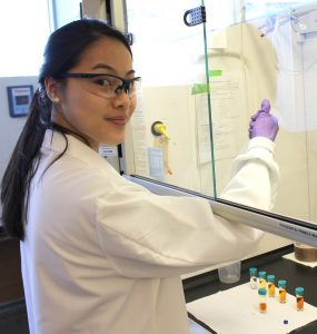 Season Chen at work in lab