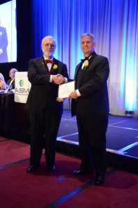 Daniel Sordelet receives his award at the ASM Annual Awards Dinner on October 10, 2017.