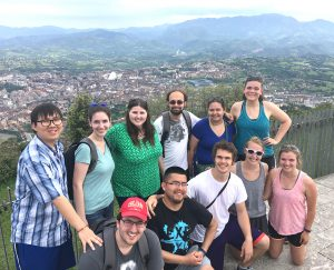 Students on overlook in Spain