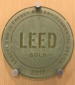 LEED medallion installed in Elings Hall