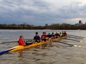Taylor (front, left) and the ISU Crew Club at the team's annual Arkansas spring break trip. <i> Photos courtesy Paige Taylor.</i>